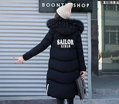 Cerniera Anteriori Moda Monocromo Lunga Tasche Cappuccio Abbigliamento Invernali Transizione Donna Giacca Schwarz Cappotto Di Con Giovane Manica Piumini Coat RqW6n8
