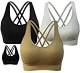 AKAMC Women's Removable Padded Sports Bras Medium Support Workout Yoga Bra 3 Pack,Medium