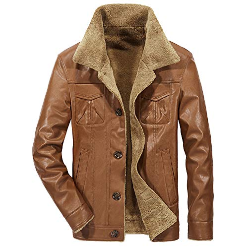 Leather Jacket Fur, Simayixx Men Vintage Winter Warm Fleece Coats Plus Size Slim Button Overcoats Blouse Tops
