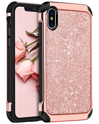 iPhone X Case, iPhone 10 Case, BENTOBEN Sparkly 2 in 1 Anti-scratch Support Wireless Charging Hybrid Hard PC with PU Leather Soft TPU Protective Case for 5.8