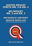 AUSTIN-HEALEY SPRITE MK. 3 & MK. 4 MG MIDGET MK. 2 and MK. 3 MECHANICAL AND BODY SERVICE PARTS LIST