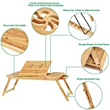 SONGMICS Bamboo Laptop Desk, Foldable Bed Table, for Left-Hander, Right-Hander, Height Adjustable Sofa Tray, with 5 Tilting Angles, Air Holes, Small Drawer, Holds up to 17'' Laptop ULLD004