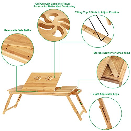 SONGMICS Right/Left handed Laptop Desk Bamboo Foldable Bed Tray w' Tilting Top&Drawer ULLD004