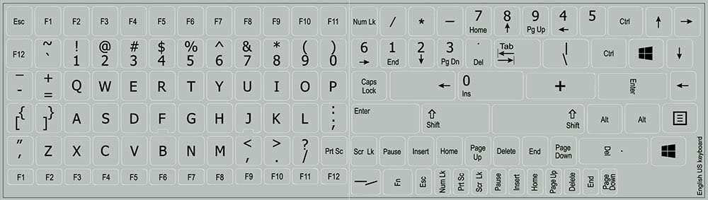 REPLACEMENT ENGLISH US KEYBOARD STICKERS ON LIGHT GREY BACKGROUND