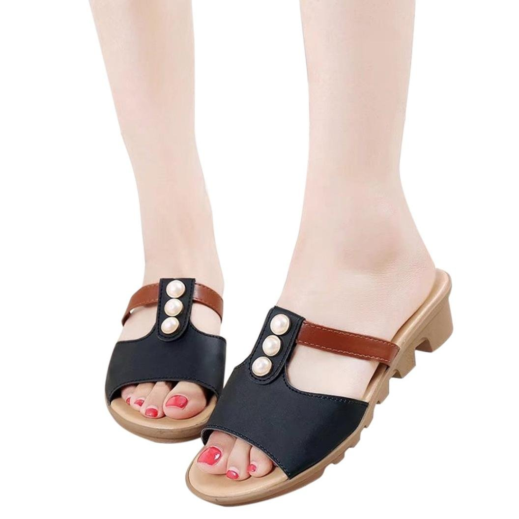 vermers Clearance Sale Women Slippers - Summer Cut Out Pearl Sandals Fashion Solid Beach Slides Shoes(US:7.5, Black) by vermers