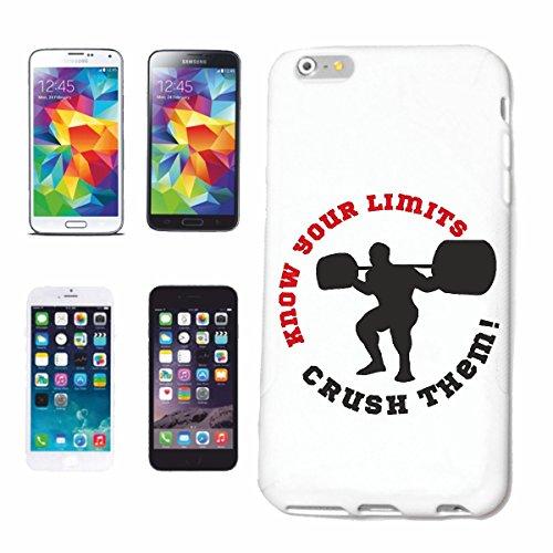 """cas de téléphone iPhone 6+ Plus """"CONNAISSEZ VOS LIMITES BODYBUILDING GYMNASE Musculation GYMNASE muskelaufbau SUPPLEMENTS WEIGHTLIFTING BODYBUILDER"""" Hard Case Cover Téléphone Covers Smart Cover pour A"""