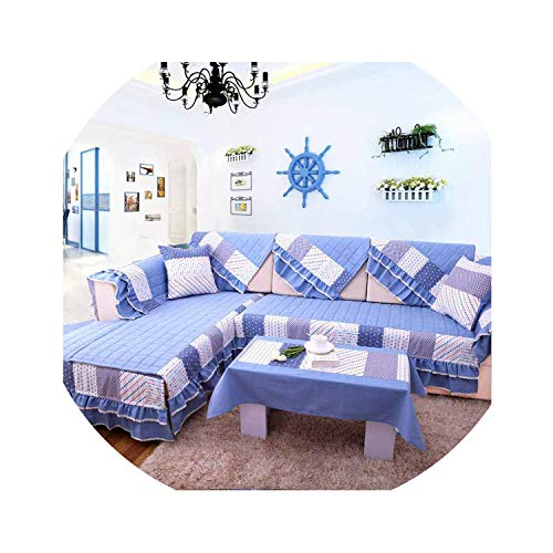 (No Buy No Bye Mediterranean Santorini Blue Style Fabric Sofa Towel Non Slip Sofa Cover Four Seasons Available Home Decoration,1 Piece with lace,90x90cm )