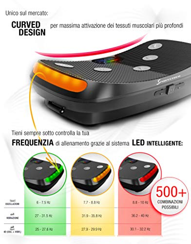 Novità 2020! Pedana vibrante 4D, Curved Design VP400 + video, display touch a colori, schermo XXL, tecnologia LED… 2 spesavip