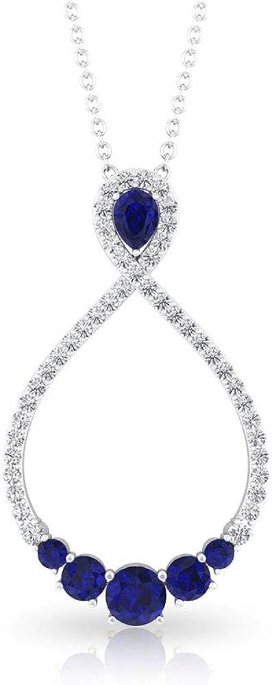 Diamante azul zafiro certificado IGI lágrima infinito colgante, claridad de color IJ-SI, colgante de diamante, colgante de boda nupcial