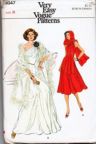 (Vogue 9347 Misses Evening Dress and Stole Sewing Pattern Check Offers for Size)
