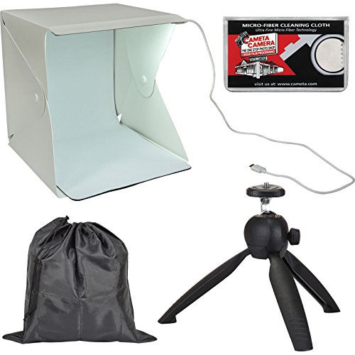 Precision Design PD-PLB1 LED Portable Light Box Photography Studio with Tabletop Tripod + Pouch + Kit