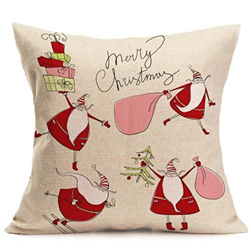 Price comparison product image Gotd Merry Christmas Pillow Case Xmas 18 x 18 Cushion Cover Merry Chritmas Home Decor Design Throw Pillow Cover Pillow Case 18 x 18 Inch Cotton Linen for Sofa (Gift E)