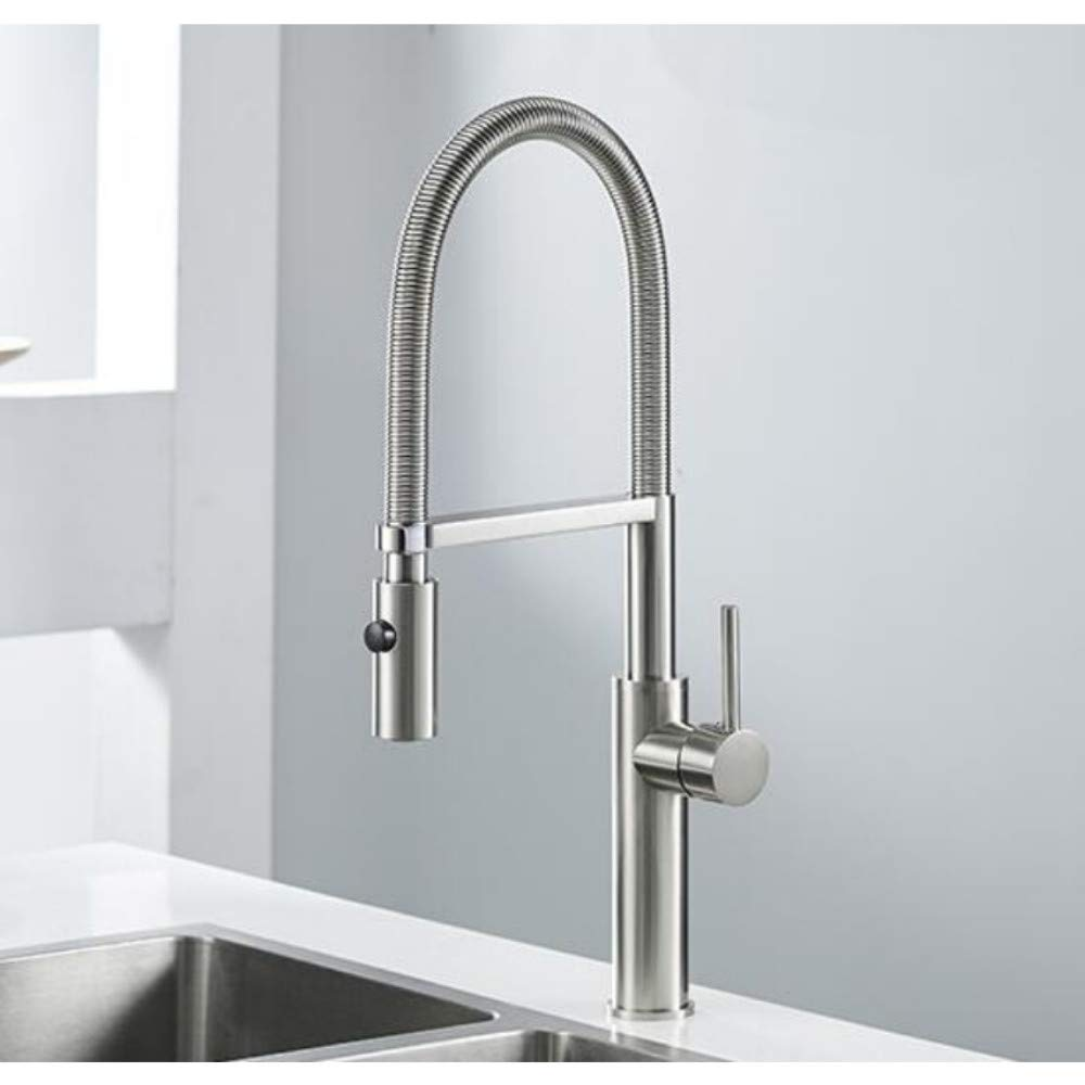 Lddpl Kitchen Faucet Newly Design 360 Swivel Solid Brass Single Handle Mixer Sink Tap Chrome Hot and Cold Water