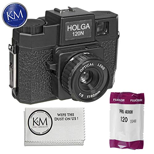 Holga 120N Medium Format Film Camera (Black) with Fujifilm Pro 400H 120mm Single Roll