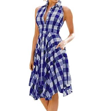 Auifor Vestido Retro Casual con Falda Grande para Mujer.: Amazon ...