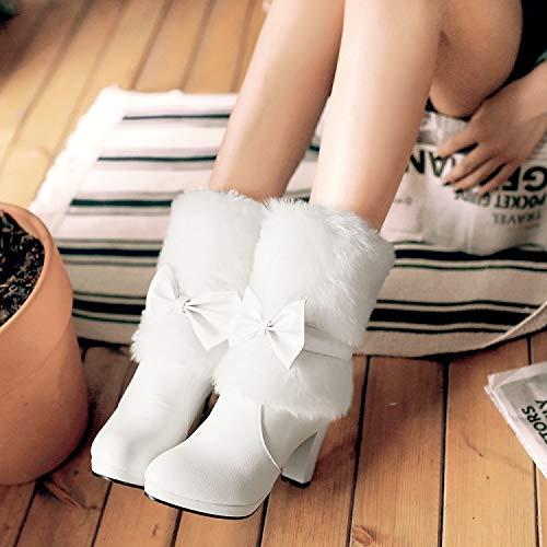 HRCxue Pumps Elegante weiße Pelzstiefel Kurze Stöckelabsatz Kurze Stiefel Martin Stiefel warm und bequem, weiß, 38