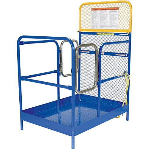 Vestil WP-3648-DD Steel Work Platform, 36'' x 48'' with Double Doors, 1000 lb Capacity, Powder Coat Blue, not for use in California