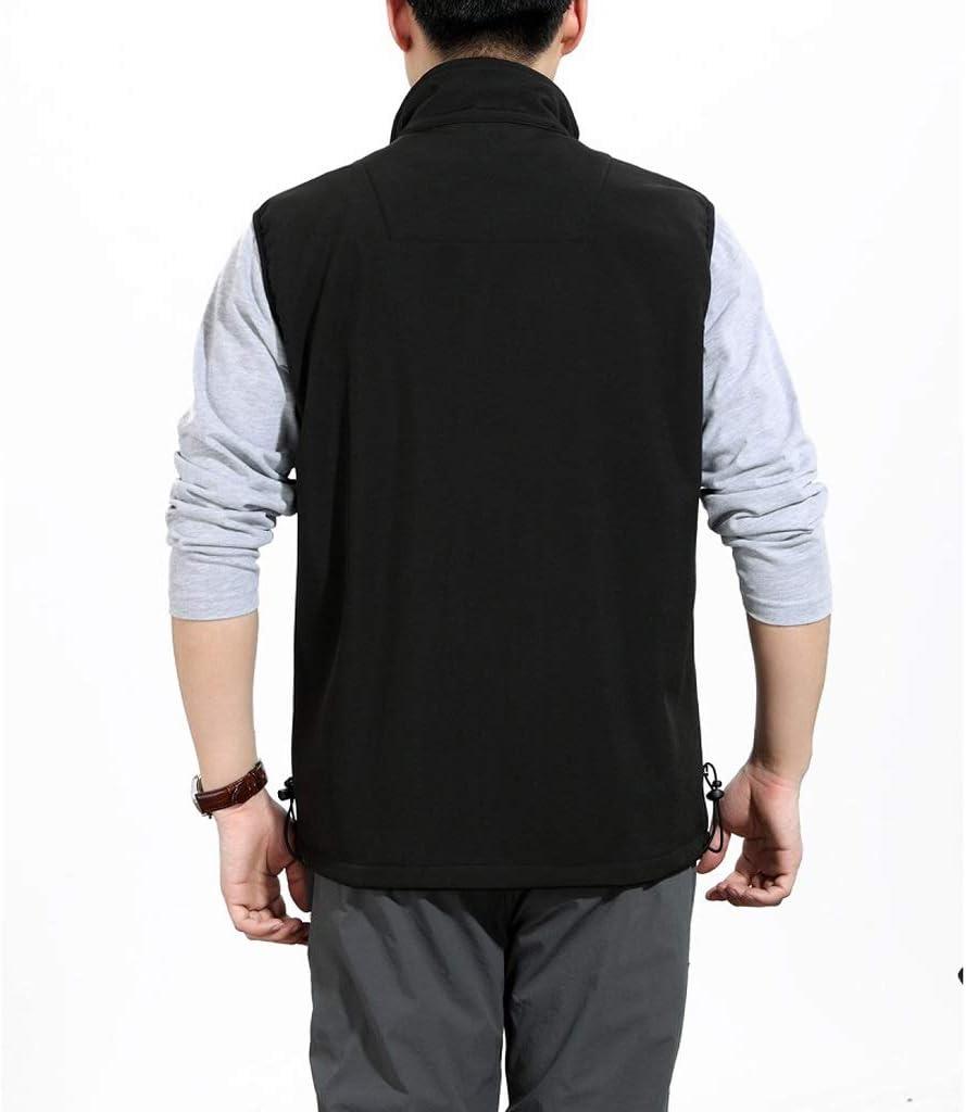 LIQIN Gilet Gilet et Automne Casual Hommes d'hiver Toison d'âge Moyen Réchauffez Gilet d'âge Moyen Papa Porter XL Veste sans Manches (Color : Army Green) Black