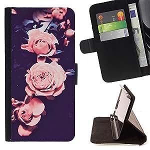 BullDog Case - FOR/HTC Desire 820 / - / rose vignette pink black petal flower /- Monedero de cuero de la PU Llevar cubierta de la caja con el ID Credit Card Slots Flip funda de cuer