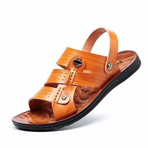 Sommer Das neue wasserdicht Dualer Gebrauch Echtleder Sandalen Männer Trend Männer Strand Schuh Sandalen Männer ,Gelb1,US=9.5,UK=9,EU=43 1/3,CN=45