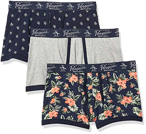 Original Penguin Men's Cotton Stretch Trunks, 3 Pk, Navy/LHGPT/DSHIB - 3 Pack, Medium (Men Trunks Underwear Pack)
