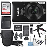 Canon PowerShot ELPH 190 IS Digital Camera (Black) with 10x Optical Zoom and Built-In Wi-Fi with 32GB SDHC + Flexible tripod + AC/DC Turbo Travel Charger + Replacement battery + Protective camera case