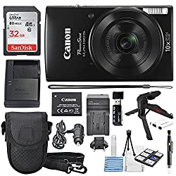 Canon Powershot Elph 190 Is Digital Camera (Black) With 10x Optical Zoom & Built-in Wi-fi With 32gb Sdhc + Flexible Tripod + Acdc Turbo Travel Charger + Replacement Battery + Protective Camera Case