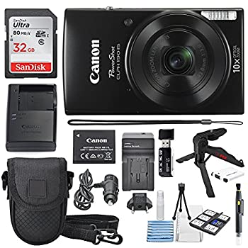 Canon Powershot Elph 190 Is Digital Camera (Black) With 10x Optical Zoom & Built-in Wi-fi With 32gb Sdhc + Flexible Tripod + Acdc Turbo Travel Charger + Replacement Battery + Protective Camera Case 0