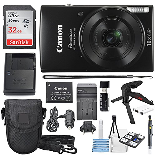 Canon PowerShot ELPH 190 IS Digital Camera (Black) with 10x Optical Zoom and Built-In Wi-Fi with 32GB SDHC + Flexible tripod + AC/DC Turbo Travel Charger + Replacement battery + Protective camera case (Digital Camera Wifi Cannon)