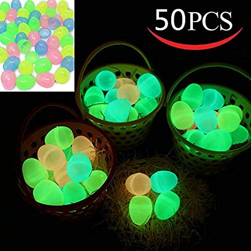 (50 pieces of eggs in the dark, Easter eggs used to fill specific hospitality, Easter glow theme party favors, Easter egg hunt, basket Stuffers stuffing, classroom awards, festive party)