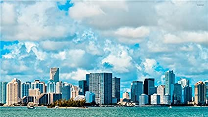 Amazon Com Fuzzy Clouds Above Miami Beach Wallpaper Wall