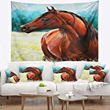 Designart TAP13315-32-39 'Brown Arabian Horse Painting' Abstract Tapestry Blanket Décor Wall Art for Home and Office, Medium: 32 in. x 39 in, Created on Lightweight Polyester Fabric