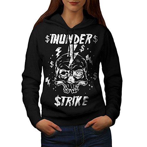 [Skull Thunder Strike Lightning Women L Hoodie | Wellcoda] (Thunder Lightning Costume)