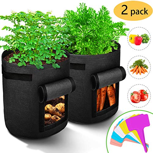 RICHOOSE 2-Pack 7 Gallons Grow Bags Breathable Nonwovens Fabric Pots Potato Planter Bag, with Visual Window and Handles Design, Equipped with10 pcs Plant Labels Black