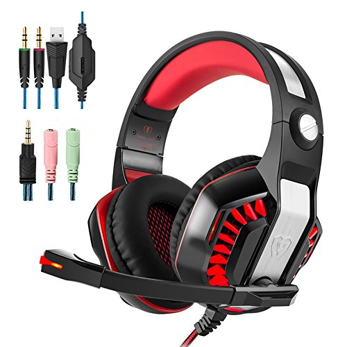 Gaming Headset Surround 3.5mm Stereo Headband Headphone with LED light Volume Control Microphone for Xbox One PS4 Latop PC Headphones (Xbox 360 Wireless Headphones)