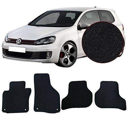 Floor Mats Fits 2010-2014 VW MKIV Golf & GTI | Black Nylon Front Rear Flooring Protection Interior Carpets 4PC By IKON MOTORSPORTS | 2011 2012 2013 (Gti Monster Mats)