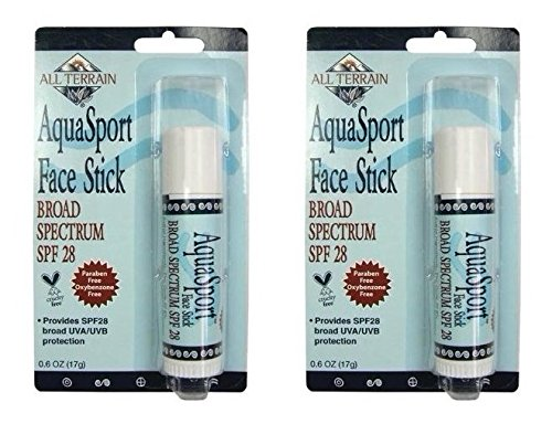 All Terrain AquaSport SPF 28 Face Stick (Pack of 2) With Jojoba, Coconut, Beeswax, Cocoa, Vitamin E and Essential Oil of Citrus, For Safe and Effective Broad Spectrum Protection.6 oz. by All Terrain