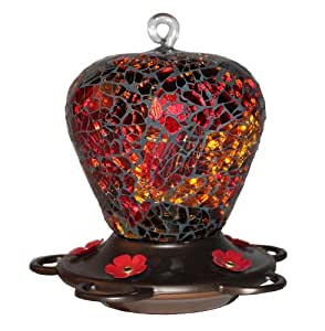 Bird Splendor U05030007 Classic Brands Glitz Decorative Glass Humming Bird Feeder, 16 Fluid Ounce, Red Mosaic
