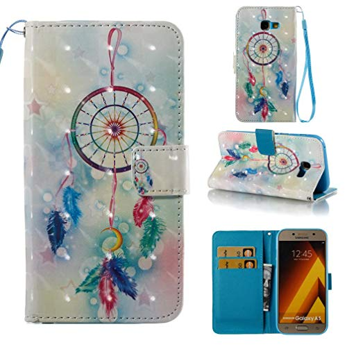 (Case for Galaxy A5 2017/A520,Pu Leather with Inner Soft Bumper Card Holder Slim Flip Kickstand Case with Magnetic Closure Wrist Strap Compatible with Samsung Galaxy A5 2017/A520 -Dreamcatcher)