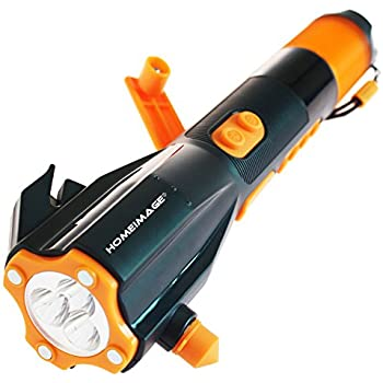 Emergency Flashlight ~ Window Breaker ~ Seat Belt Cutter ~ Cell Phone Charger ~ Compass ~ Brightest LED ~ Radio ~ Rechargeable ~ Water Resistant - Auto / Home / Camping / Hunting / Fishing - HI-XLN703