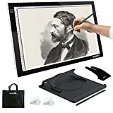 Yaufey Super Thin Tracing Box A3 LED Light Box, 6 Levels Touch Adjustable Light Pad for Stencil Artist Art Tracing Tatto Table with Holder, Carry Bag and Glove (USB Power)