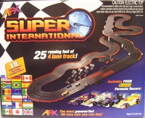 Ho Slot Car Layouts - AFX 4-Lane Super International Race Set w/Mega G Cars