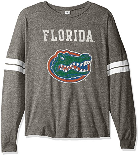 NCAA Florida Gators Betty Long Sleeve Tri-Blend Football Jersey T-Shirt, Small, Tri Grey/White
