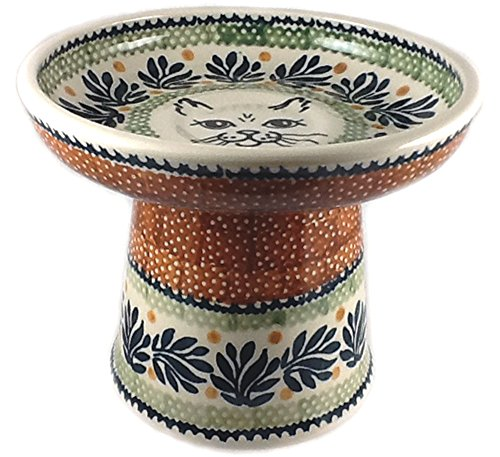 polish-pottery-raised-wet-food-dish-bowl-cat4-black-cat-face-on-pattern-dpzg-or-jungle-fever