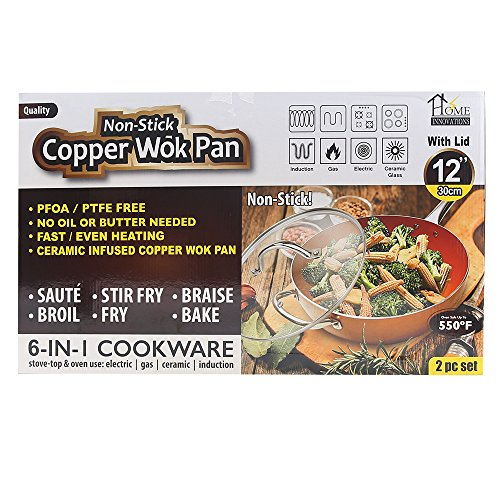 As Seen On TV TV Direct Non Stick Induction Ready Copper Wok Pan With Lid (Copper Wok)