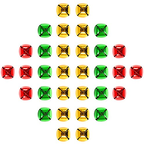 Coobey 120 Pieces Christmas Jingle Bells Colorful Christmas Metal Bells for Christmas Decoration or Craft Supplies (0.59 Inch)