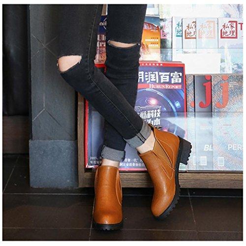 Gingerberry Vrouwen Laarzen Vierkante Hak Platforms Leer Dij Hoge Pomp Laarzen Schoenen Bruin (hoog: 5,5 Cm)