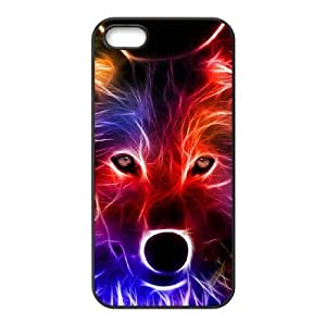 Customized Durable Case for Iphone 5,5S, Fire Wolf Phone Case-R662707