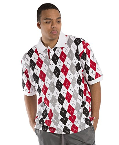 Vibes Men's Multi Color Argyle Printed Pique Polo Shirts Relax Fit Short Sleeve Size 2X-Large Black ()