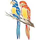Parrot Stencil - (size 10.5 #8221;w x 14 #8221;h) Reusable Wall Stencils for Painting - Best Quality